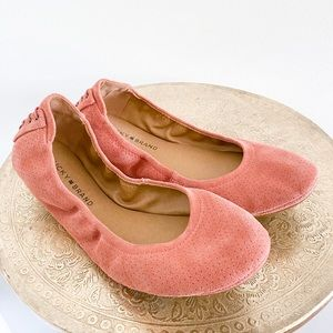 Lucky Brand Pink Leather Lace Back Flats